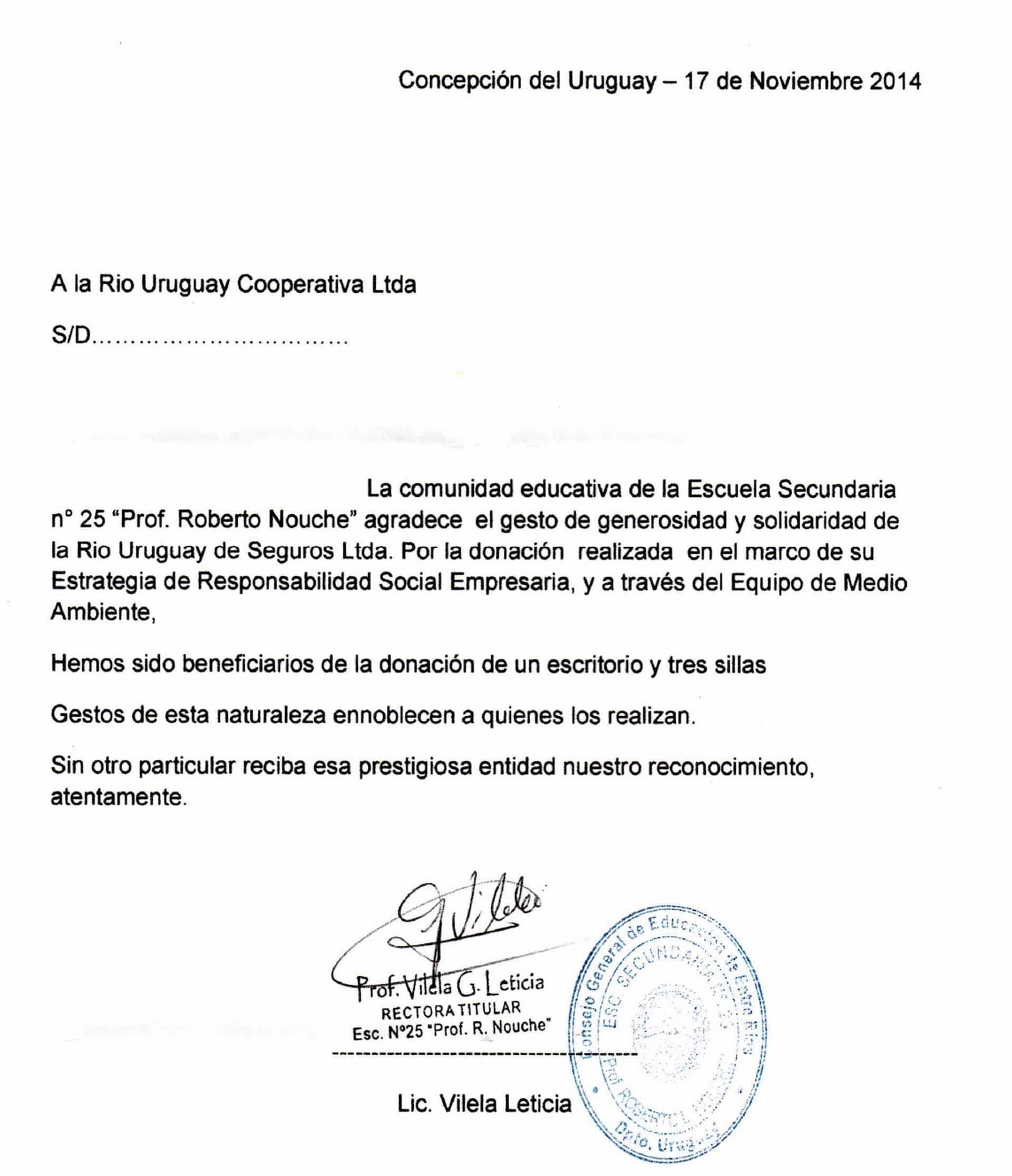 Carta De Agradecimiento Para Rio Uruguay Seguros Rus Media