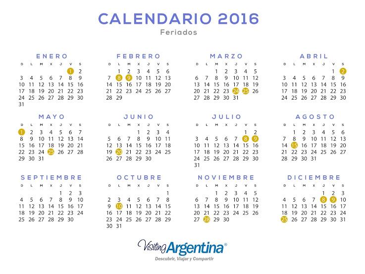 Calendario 2016 Argentina.Turismo Se Confirmo El Calendario De Feriados 2016 Rus Media