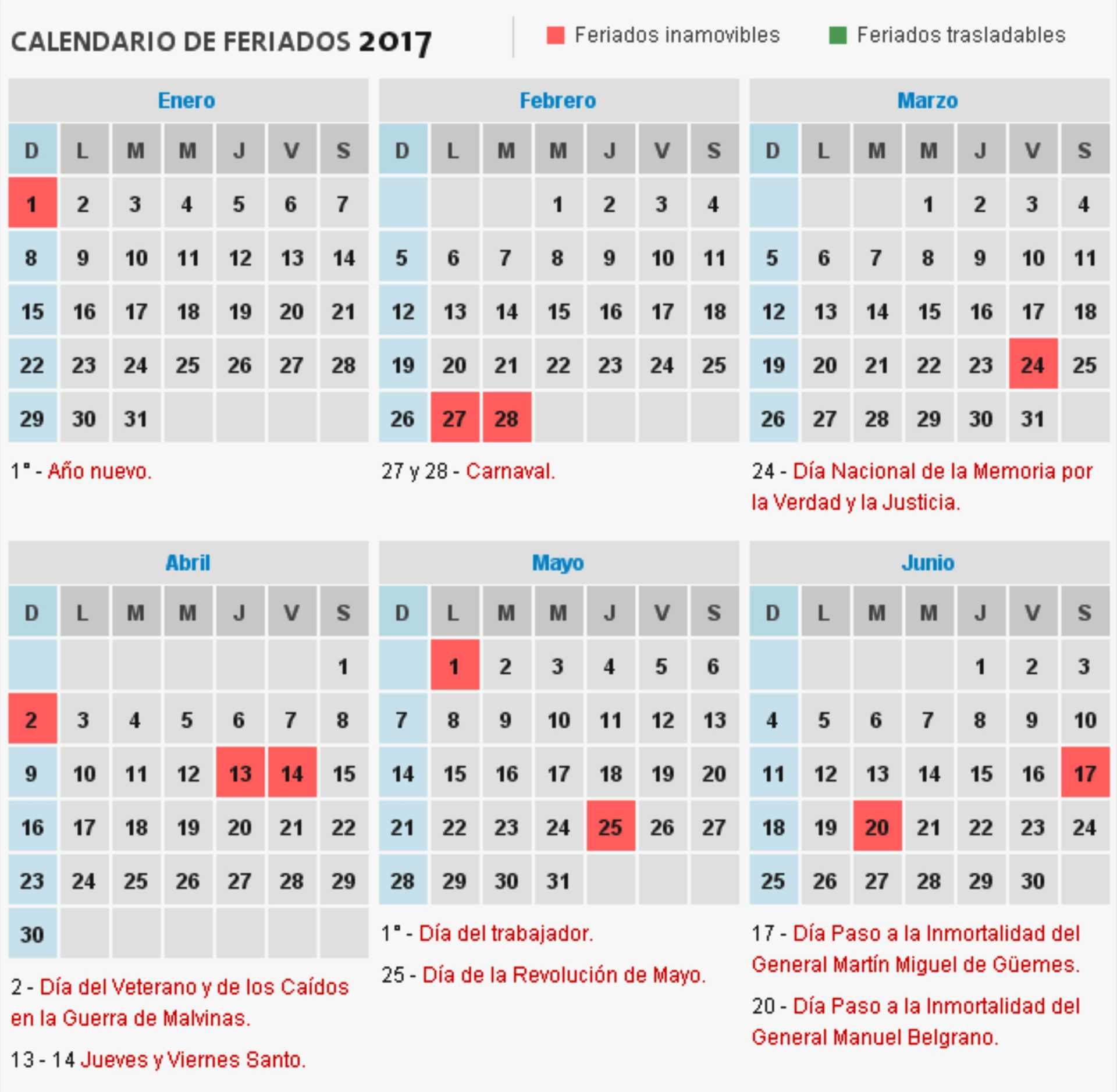Consultá el calendario de feriados 2017 de la Argentina – RUS Media